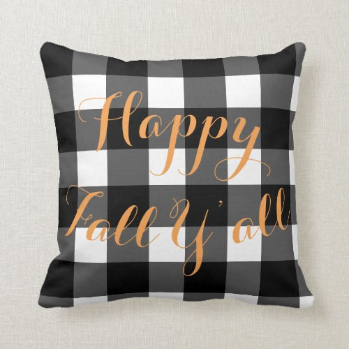 Happy Fall Y'all Buffalo Check Accent Pillow