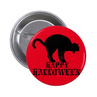 Happy Halloween Black Cat 2 Inch Round Button
