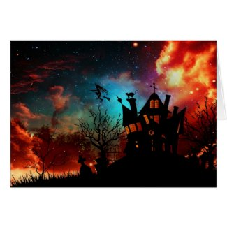 Happy Halloween Haunted House and Witch Greeting Card