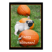 Happy Halloween Pug puppy greeting card