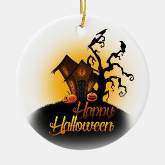 Happy Halloween! Pumpkins on the doorstep! Christmas Ornament
