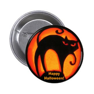 Happy Halloween Black Cat Buttons