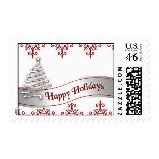 Happy Holidays Christmas Ribbon Postage