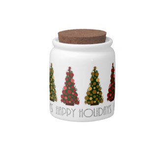 Happy Holidays Christmas Tree Candy Jar