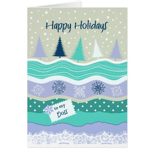 Happy Holidays For Boss Fir Trees Snowflakes Snow Greeting