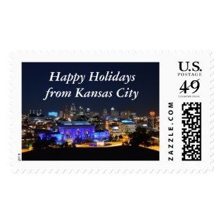 Happy Holidays Kansas City Union Station in Blue Postage Stamp