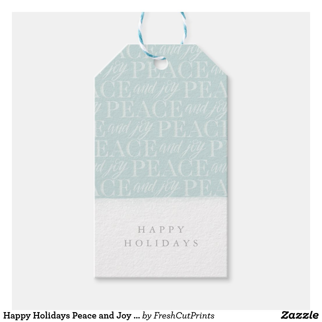 Happy Holidays Peace and Joy Christmas Gift Tag