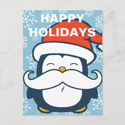 Happy Holidays Penguin Mustache Trend Holiday Postcard