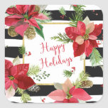 Happy Holidays Poinsettias, Black Stripe Stickers