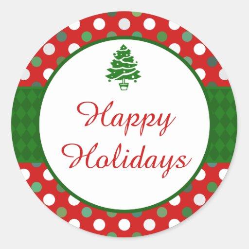Happy Holidays Polka Dot Christmas Tree Stickers Zazzle