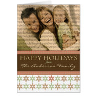 Happy Holidays Snowflake Pink and Brown Cards