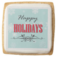 Happy Holidays Square Premium Shortbread Cookie