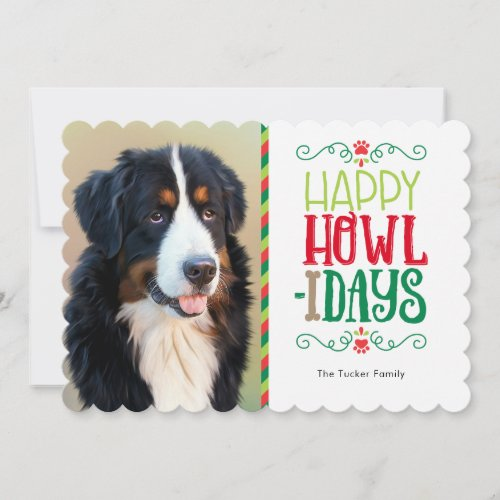 Happy Howl-idays Paw Print Christmas Photo Card
