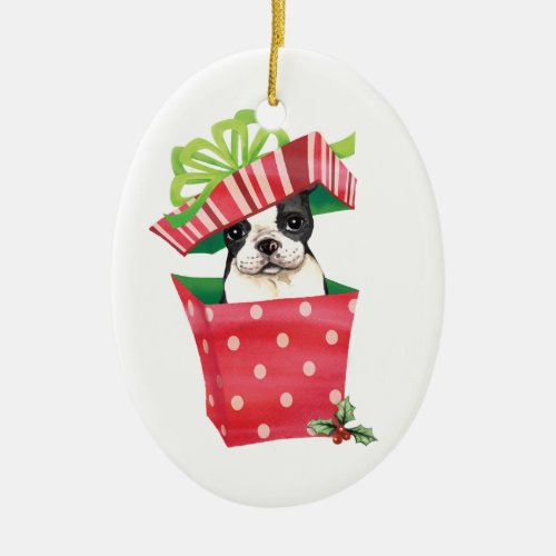 Happy Howliday Boston Terrier Ceramic Ornament