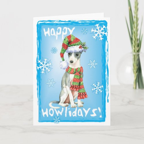Happy Howlidays Italian Greyhound Holiday Card