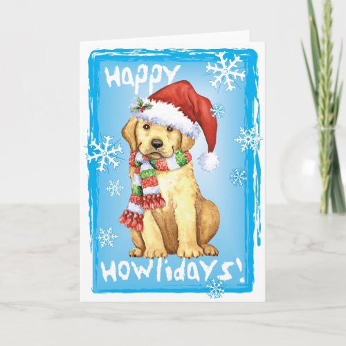 Happy Howlidays Yellow Lab Holiday Card