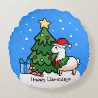 Happy Llamadays Round Pillow