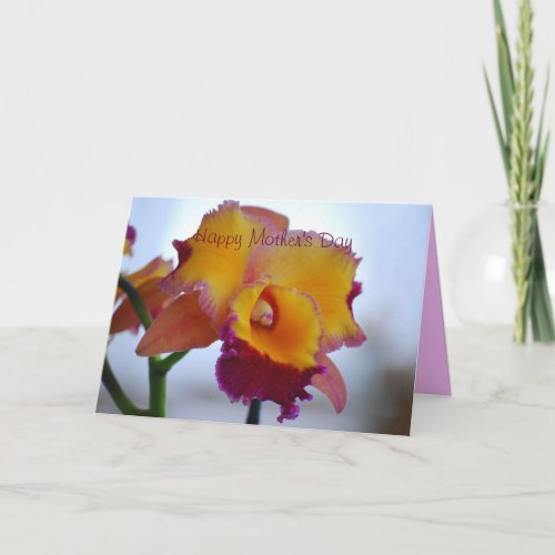 Happy Mother's Day Orange, Violet Cattleya Orchid card