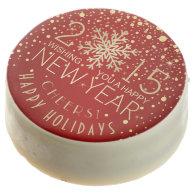 Happy New Year 2015 Snowflake Confetti Holiday Chocolate Covered Oreo
