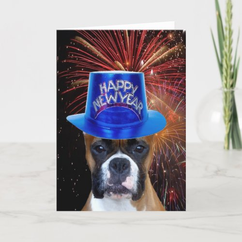 Happy New Year Boxer dog greeting card