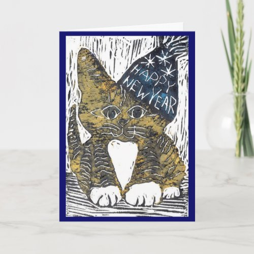 Happy New Year Cat Block Print Holiday Card