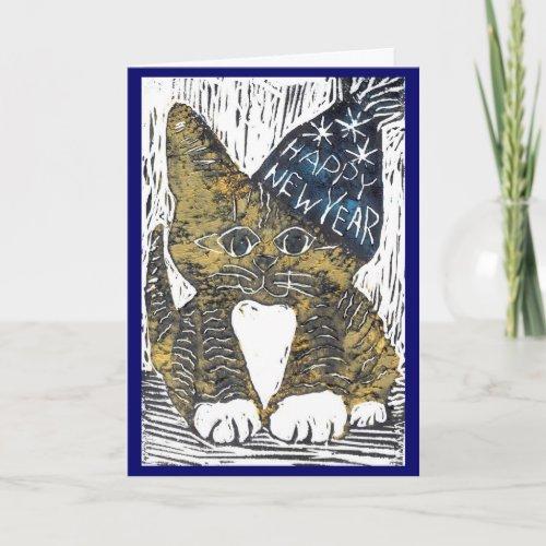 Happy New Year Cat Block Print Holiday Card