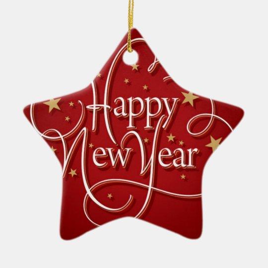 Happy New Year Ceramic Ornament