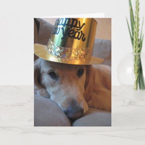 Happy New Year Dog Holiday Card