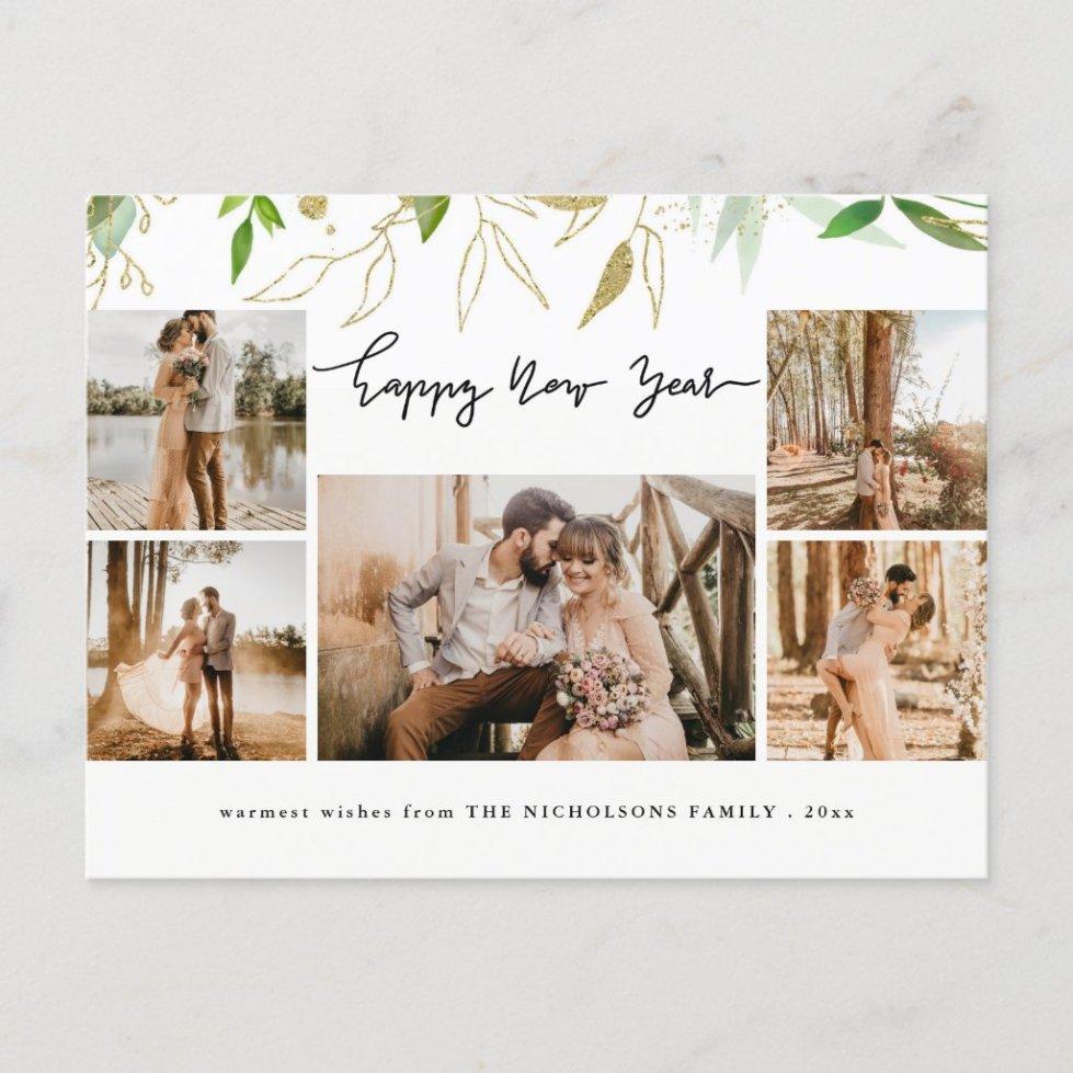 Happy New Year Minimalist Modern Script MultiPhoto Holiday Postcard