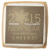 Happy New Year Modern Snowflake Holiday Cookies Square Premium Shortbread Cookie