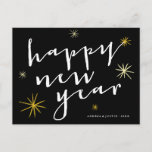 Happy New Year Starburst Modern Holiday Postcard