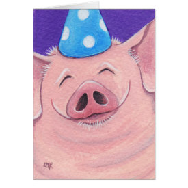 Happy Pig Wearing A Party Hat Illustration Greeting Card