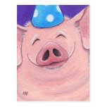❤️ Fun Pig Wearing Party Hat Birthday Postcard