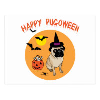 Happy Pugoween Halloween Pug Tees, Gifts Postcard