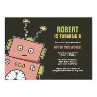 Happy Robot Birthday Party Invitations