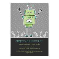 Happy Robot & Springs Kids Birthday Party Invites