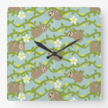 Happy Sloths on Vines Square Wall Clock