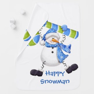 Happy Snowman Green and Blue Baby Blanket
