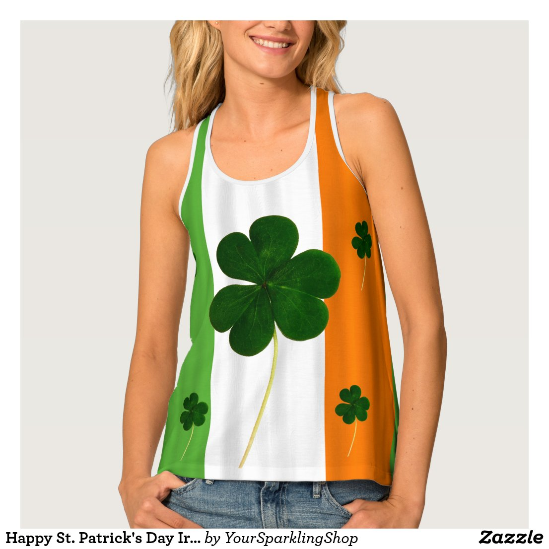 Happy St. Patrick's Day Irish Flag Shamrock Paddy Tank Top