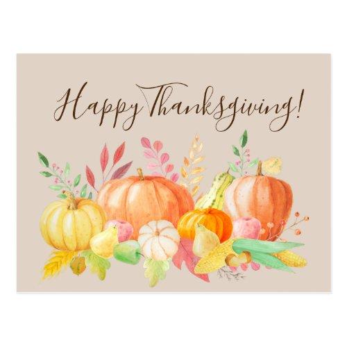 Happy Thanksgiving Pumpkin Watercolor Pretty Postcard