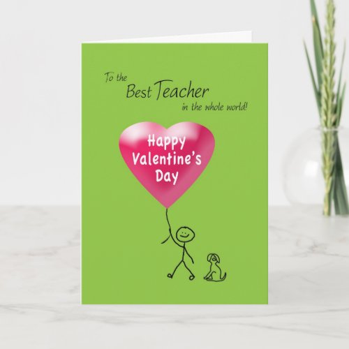 Happy Valentine's Day for Teacher Holiday Card