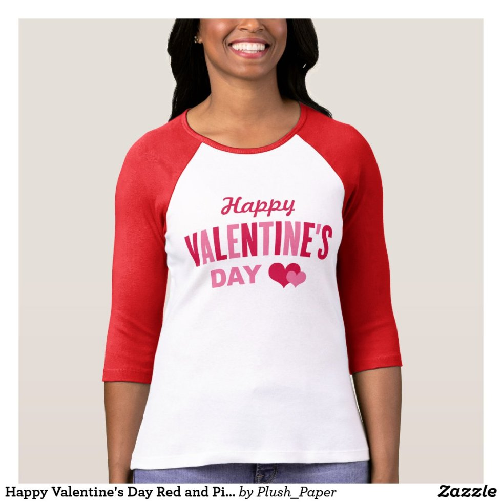 Happy Valentine's Day | Women's Red and Pink T-Shirt
