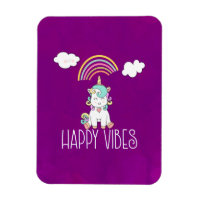 Happy Vibes Typography Cute Smiling Unicorn Magnet