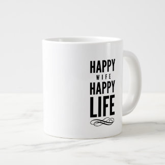 Happy Wife Wise Words Quote White Giant Coffee Mug