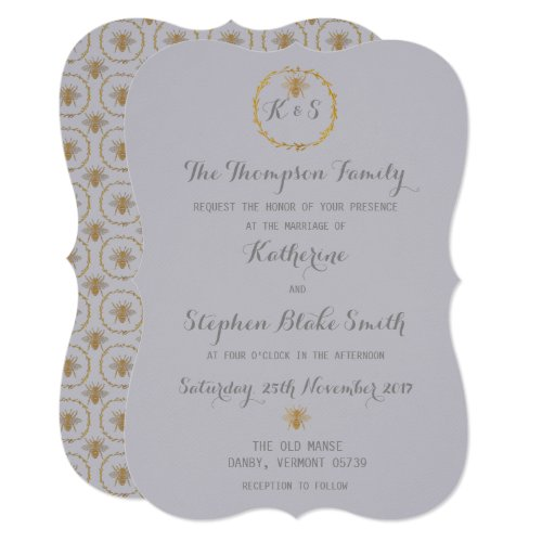 Harbor Mist Grey Gold Foil Golden Bees Wedding Invitation