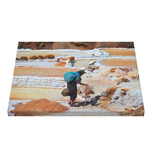 Harvesting Salt in Maras, Peru Canvas Print