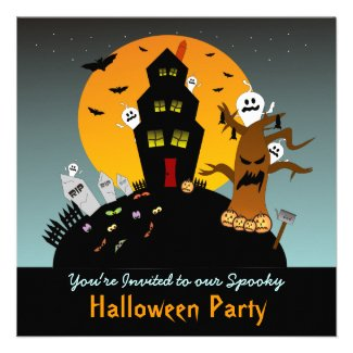 Haunted House Halloween Square Invitation