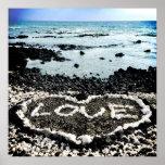 "Hawaii Black Sand Beach & Coral ""Love"" Heart Photo Poster"