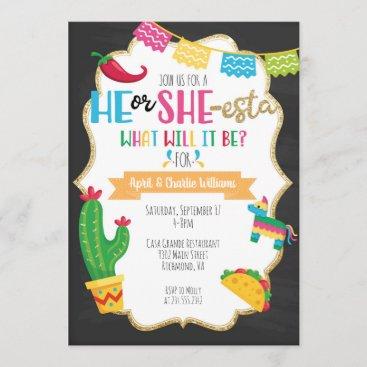 He or She-esta Fiesta Theme Gender Reveal Invitation