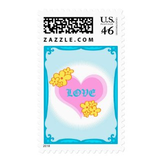 Heart and flowers stamp